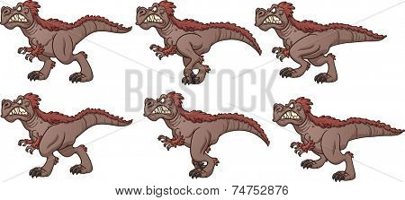 Cartoon walking T-rex ready for animation. Vector clip art illustration with simple gradients. Each frame on a separate layer.
