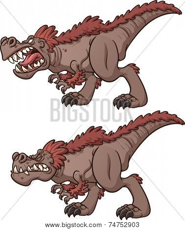 Cartoon tyrannosaurus roaring and biting. Vector clip art illustration with simple gradients. Each on a separate layer.