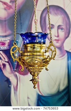 Alight icon lamp in Russian orthodox church