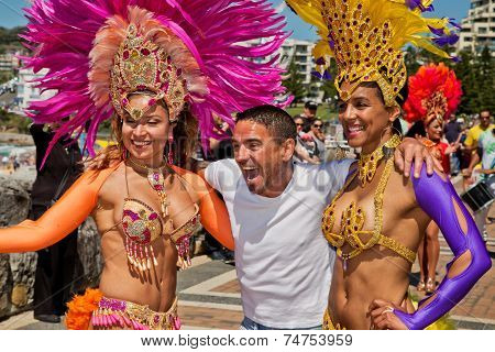 Lucky guy meets sexy Brazilian dancers