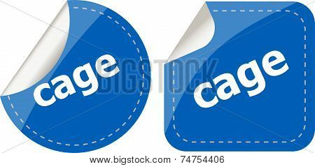 Cage Word Stickers Set, Web Icon Button