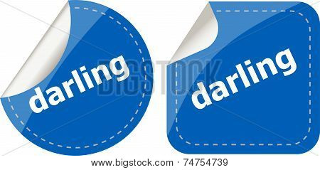 Darling Word Stickers Web Button Set, Label, Icon