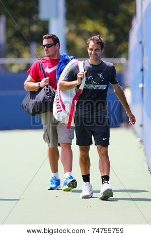 Seventeen times Grand Slam champion Roger Federer after practice for US Open 2014