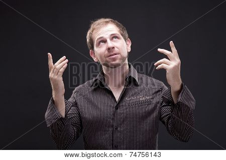 Portrait of a gesticulating man