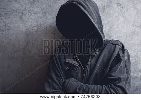 Faceless Unrecognizable Man With Hood