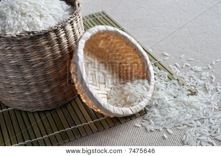 Rice in small baskets