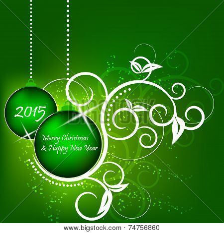 Christmas and New Year green background, flower pattern