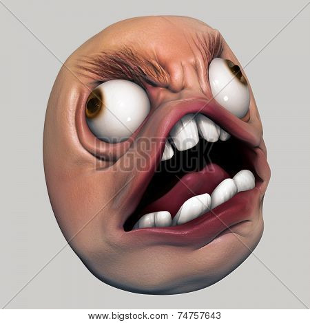 Trollface Rage. Internet Meme 3D Illustration