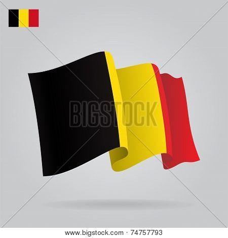 Flat and waving Belgian Flag. Vector