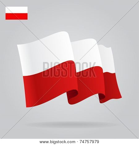 Flat and waving Polish Flag. Vector