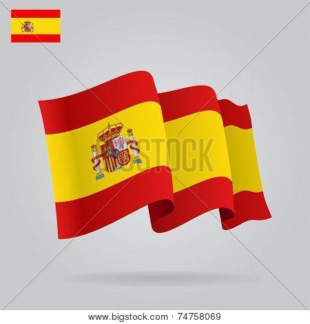 Flat and waving Spanish Flag. Vector