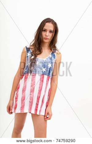 Beautiful woman in top colors of USA flag