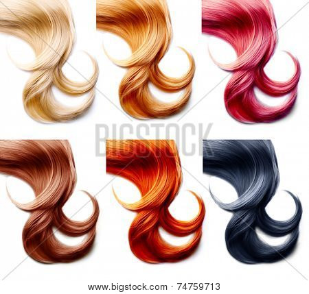 Different hair colors palette. Hair Colors Set isolated on white background. Tints