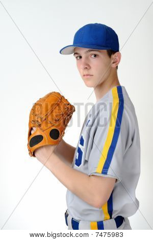 Teenage high school baseball pitcher