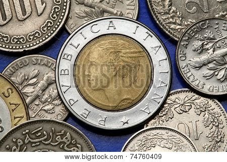 Coins of Italy. Allegory of Italy designed by Laura Cretara depicted in the old Italian 500 lira coin.