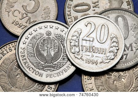 Coins of Uzbekistan. State emblem of Uzbekistan depicted in the Uzbekistani som coins and the Uzbekistani 20 tiyin coin.