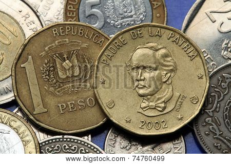 Coins of the Dominican Republic. Dominican national hero Juan Pablo Duarte depicted in the Dominican one peso coin.