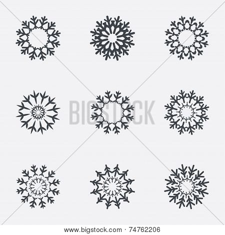 Snowflake artistic sign icons