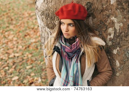 Beautiful Young Girl With A Red Beret