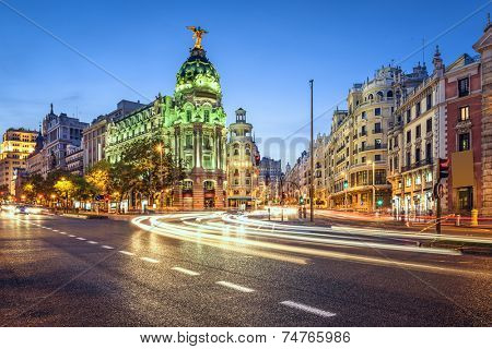 Madrid, Spain cityscape on Gran Via at twilight.