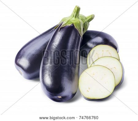 Three Aubergines And Slices Isolated On White Background