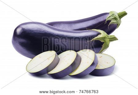 Aubergines And Slices Isolated On White