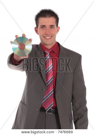 Businessman holding Cd Or Dvd