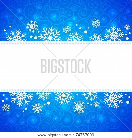 winter illustration. frame with snowflakes and highlights