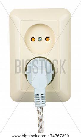 Electric Outlet With Cord Isolated On White
