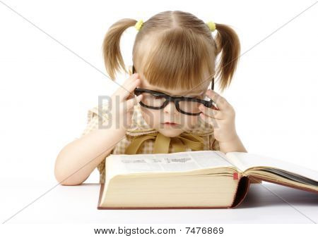 Cute Little Girl Reading Book, Back To School