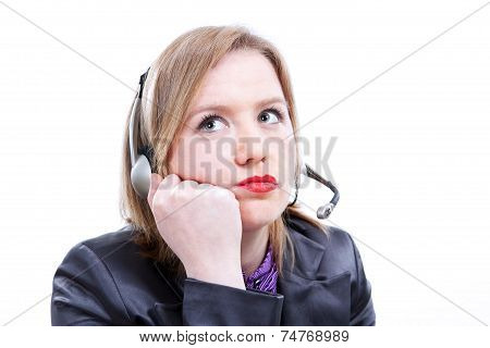 Tired Woman With Telephone Headset