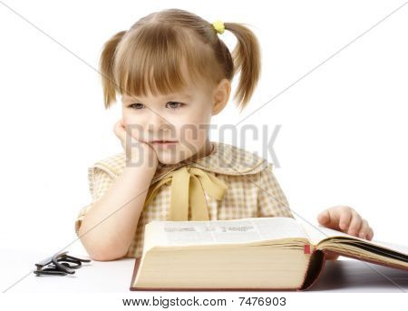 Cute Little Girl With Book, Back To School