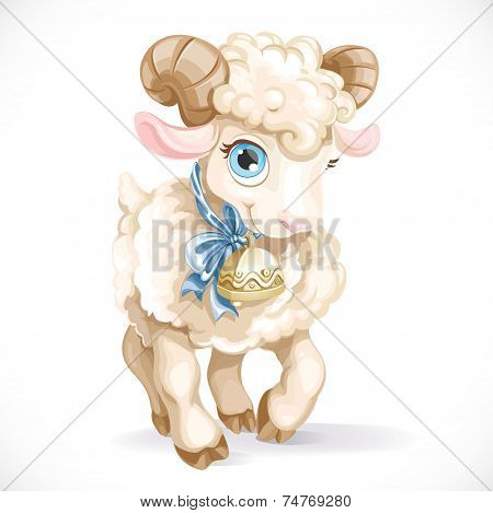 Little Cute Lamb Isolated On A White Background