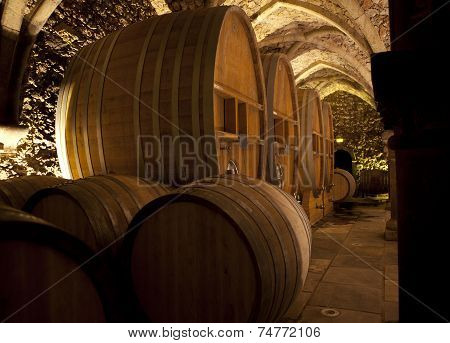 Wine Cellar With Big Barrels