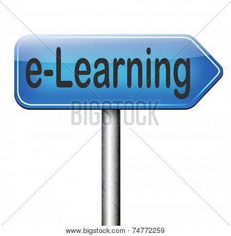 e-learning online education road sign arrow internet classes learning in open school or university virtual elearning