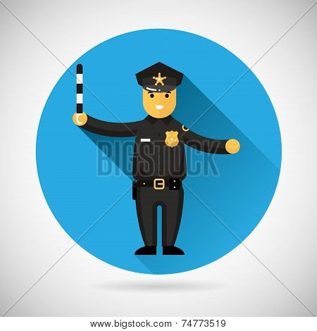 Police officer character with adjusting rod icon protection law order symbol on Stylish Background M