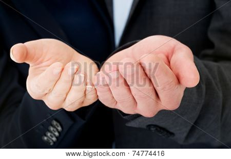 Woman's and man's hands in request gest