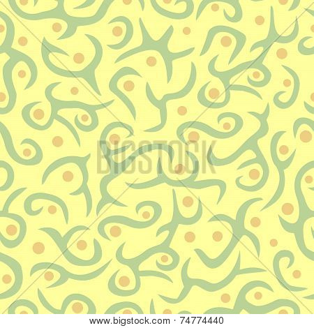 Seamless plant pattern in olive, tan and cream