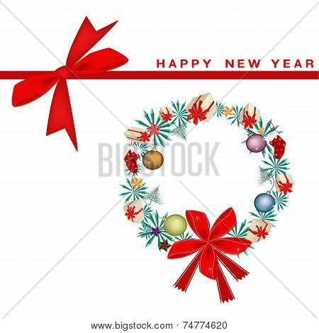 New Year Gift Card with Christmas Wreath