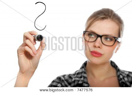 Blonde Student Girl Drawing A Question Mark In The Air