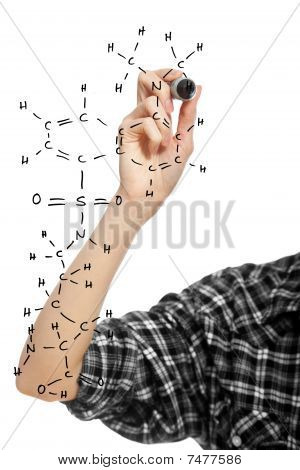 Hand Of A Student Girl Drawing An Chemical Formula