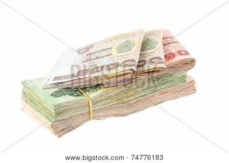 Heap Of Thai Baht Banknote Isolated On White