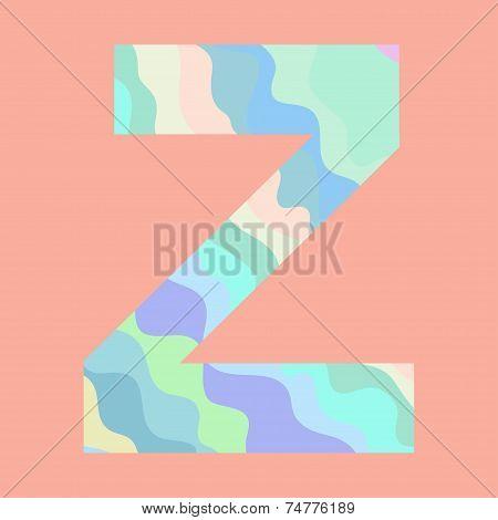 The letter Z. Element of alphabet
