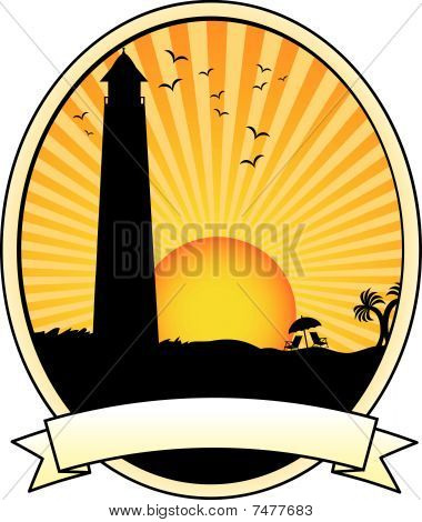 Lighthouse coastal sunset vacation silhouette Oval Banner Ad