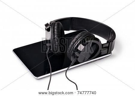 smart phone with headphones isolated on white background