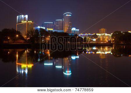 Minsk, Belarus - October 16, 2014: Business center of Minsk