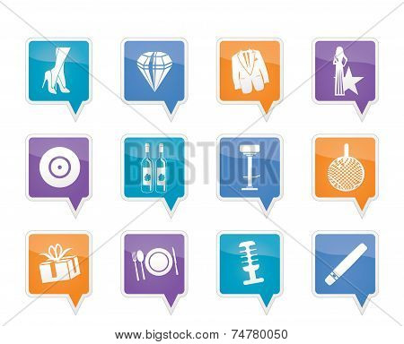 Luxury party and reception icons