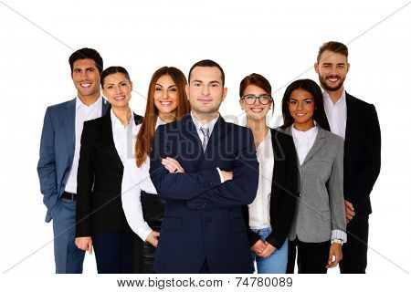 Happy man leading his happy team over white background