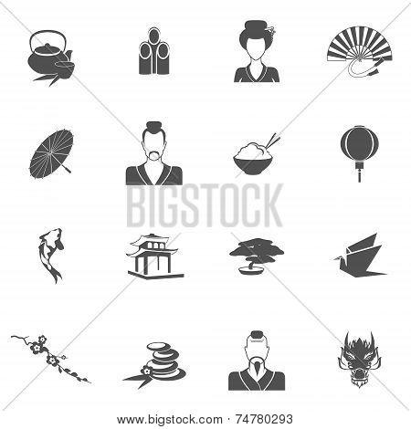 Japan icons black