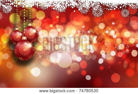 Decorative Christmas background with baubles, bokeh lights and snowflakes
